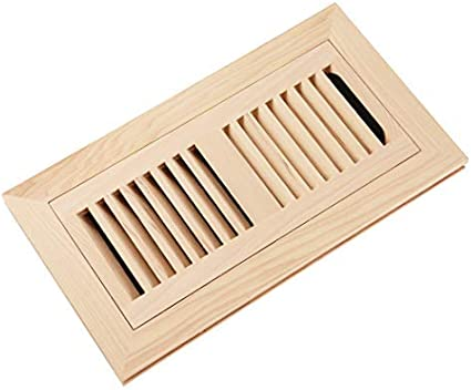 Homewell Hickory Wood Floor Register Flush Mount Floor Vent Cover 4x10 Inch With Damper Unfinished