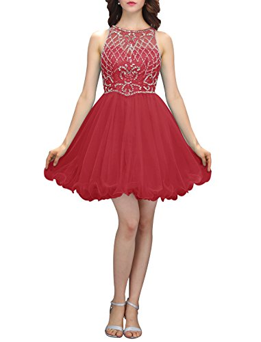 Wedtrend Women's Elegant Homecoming Dress Short Prom Dress with Beads WT12040Dark Red 2