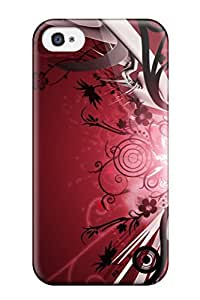 Iphone 4/4s Case, Premium Protective Case With Awesome Look - Pretty Flower And Red