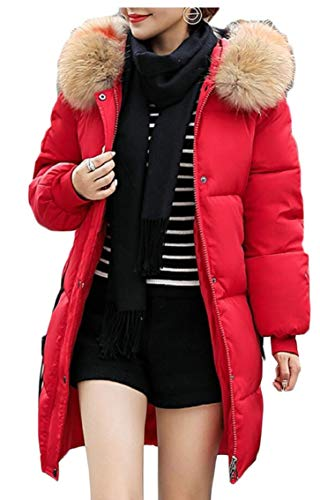 Size Thicken Long Warm Gocgt Red Zipper Overcoat Hoodie Women's Winter Plus Down Jacket q8EU4fw