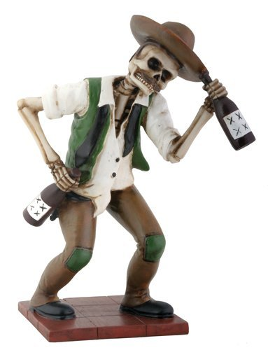El Borracho Green Skeleton Holding Liqour