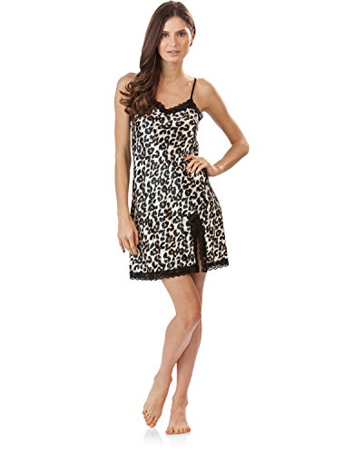 Ashford & Brooks Women's Satin Lace Trim Chemise Nightie - Leopard - Medium