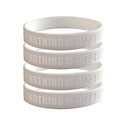 Motivational Silicone Wristbands Custom Embossed Quote, Nothing Is Impossible, Exceed Your Own Expectations. Rubber bands for Fitness, Workouts, Crossfit, Basketball, Lifting (White 4 Pack)