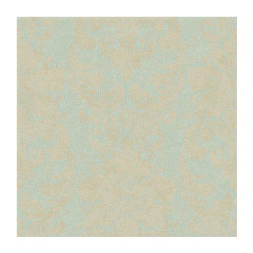 UPC 034878610764, York Wallcoverings RG4903 Fresco Velvet Damask Wallpaper, Moss Green/Pearlescent Tan/Matte Tan