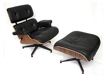 Möbel Shop UK Leder Wiedergabe Eames Lounge Sessel Und Hocker, Größe: H 84  Cm
