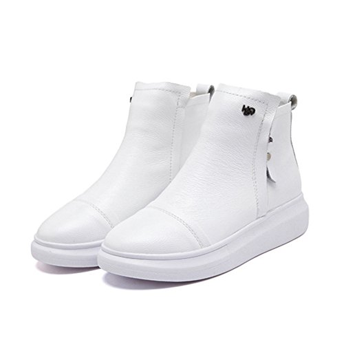GIY Women Fashion High Top Sneaker Platform Increased Height Casual Wedge Bootie Shoes White CJnyb8eMfz