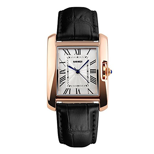 [TONSHEN Luxury Women's Watches Rose Gold Case Leather Strap Fashion Quartz Stainless Steel Watch,Black] (Black Square Face Stainless Steel Watch)