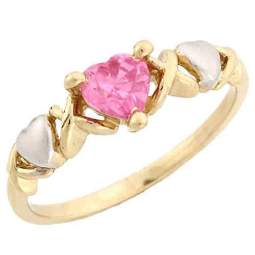 - Jewelry Liquidation 10k Two-Tone Gold Heart Shaped Pink CZ Simulated October Birthstone Ring