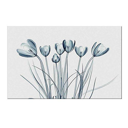 (YOLIYANA Xray Flower Durable Door Mat,X ray Transparent Image of Tulips Solarized Effects Nature Inspired New Vision Home for Home Office,19.6