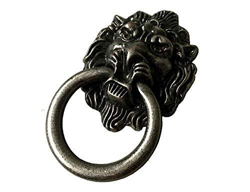 Lion Drawer Pull Lion Head Drop Cabinet Pulls Door Handles Ring Dresser Pull Knobs Drawer Knob Pulls Vintage Style Antique Brass Black Chrome Gold Bronze Pewter (Antique Pewter)