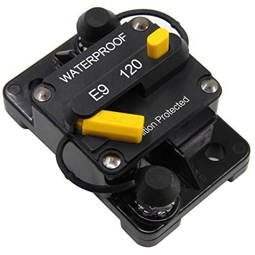 ZOOKOTO 12V-48VDC 120 Amp Circuit Breaker, Marine Trolling Motors Boat ATV Manual Power Fuse Rest, Waterproof (120A) ()