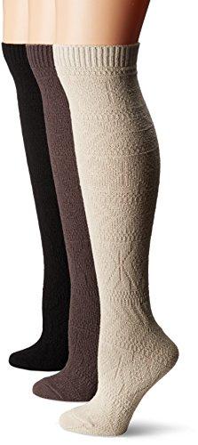 83ffd6453 Muk Luks Women s 3 Pair Pack Diamond Knee High Socks