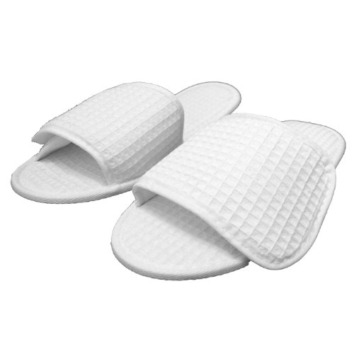 Waffle Nylon Fabric Closure Open Toe Unisex Slippers White 6 Pcs