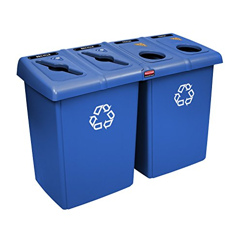 Rubbermaid Slim Jim Glutton Recycling Station 4 Stream, 348 L - Blue by Rubbermaid Commercial Products