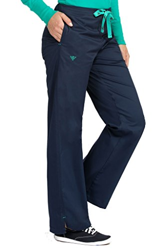 Med Couture Women's Signature Drawstring Straight Scrub Pant, New Navy/Spearmint, Large