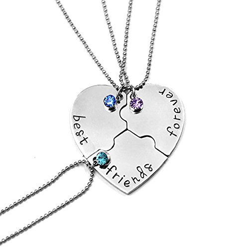 Best Friend Forever and Ever Set of 3 Pieces Heart Shape Pendant Friendship Puzzle Stitching Necklace