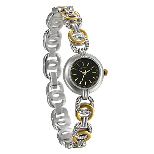 JewelryWe Women Bracelet Watches Water Resistant Quartz Watch Stainless Steel Analog Dial Fashionable Wristwatch Mothers Day Gift - Stainless Steel Bracelet Watch Quartz