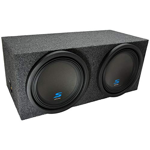 Universal Car Stereo Rearfire Sealed Dual 12″ Alpine S-W12D2 Type S Car Audio Subwoofers Custom Sub Box Enclosure Package New