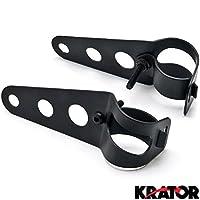 Krator Black Headlight Mounting Bracket Fork Ears 31-37mm For Yamaha V-Star Vstar 950 1100 1300 Classic Stryker
