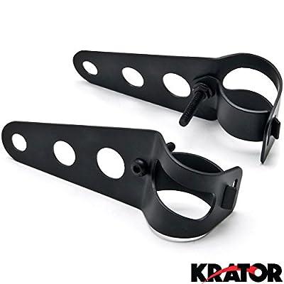 Krator Black Headlight Mounting Bracket Fork Ears 31-43mm For Kawasaki VN Vulcan Classic Drifter 800
