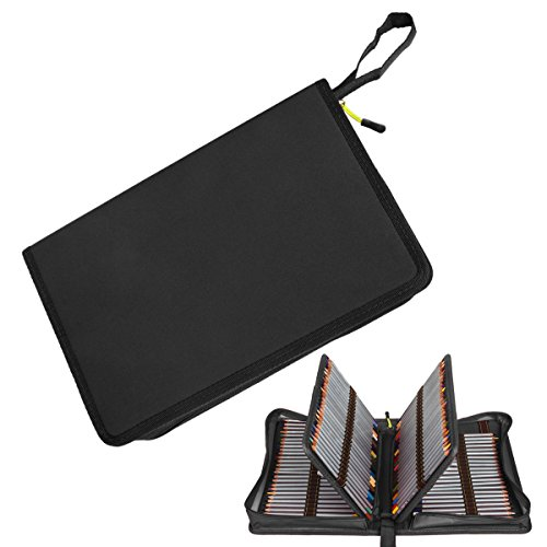 150 Slots Pencil Case, STARVAST Pencil Bag Holder Large Capacity Canvas Smooth Zipper Storage Pouch for Prismacolor Colored Pencils, Crayola Colored Pencils, Marco Pens and Cosmetic Brush (Black)