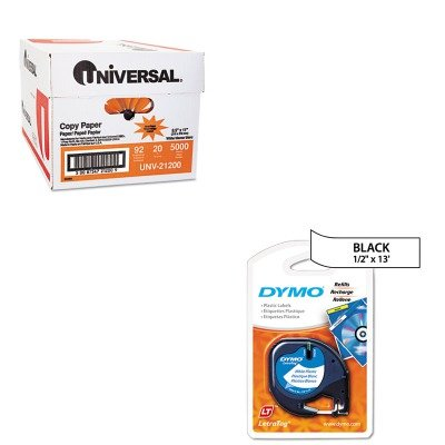 KITDYM91331UNV21200 - Value Kit - Dymo LetraTag Plastic Label Tape Cassette (DYM91331) and Universal Copy Paper (UNV21200)