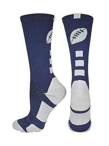 MadSportsStuff Football Logo Crew Socks (Navy/White, Small)