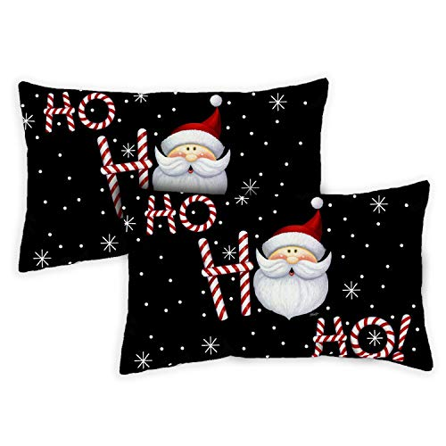 Toland Home Garden Decorative Ho Ho Ho Santa Winter Christmas Xmas Text Holiday Saying Seasonal Word 12 x 19 Inch Pillow Case (2-Pack) from Toland Home Garden