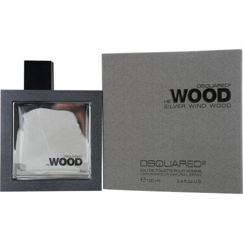 Dsquared2 He Wood Silver Wind Wood Eau De Toilette Spray for Men, 3.4 Ounce (Romance Cologne Spray Silver)