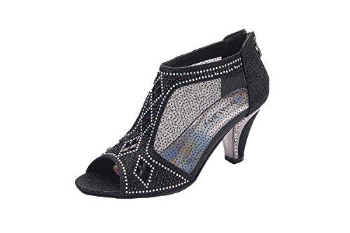 Women's Lexie Crystal Dress Heels Low Heels Wedding Shoes A-KIMI-26 BLACK6.5 ()