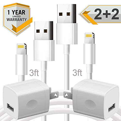 (Cellphone Charging Kit - Pack of Two 3FT USB Data Sync Cables Charging Cord with Two Cube Wall AC Chargers Brick Power Adapter Plug Compatible with Xr Xs X Max 8 7 6 5 SE Pad Pro Mini Air - White)