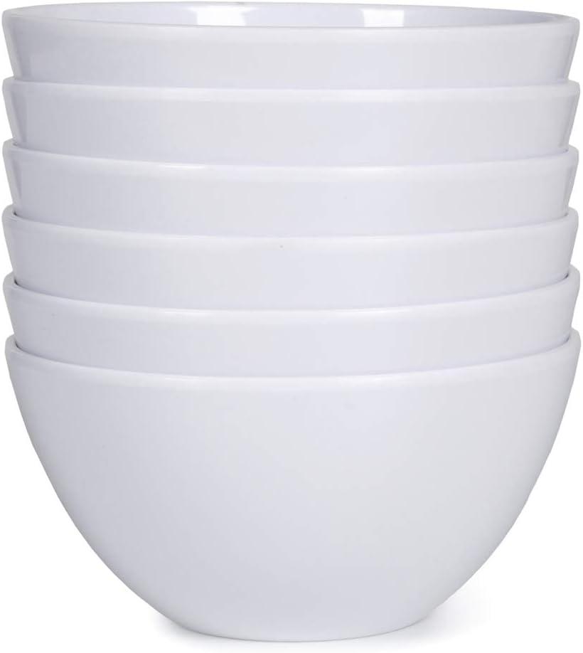 Melamine Cereal Bowls set - 6pcs 20oz White Soup Bowls for Daily Use, Dishwasher Safe, Durable,Breat-resistant