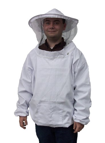 [New Professional White Medium / Large Beekeeping / Bee Keeping Suit, Jacket, Pull Over, Smock with a Veil by VIVO] (Affordable Costumes)
