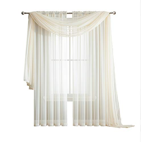 - LinenZone Amazing Sheer Window Scarf Voile Curtain for Window Treatment - Add to Window Curtains for Enhanced Effect (56