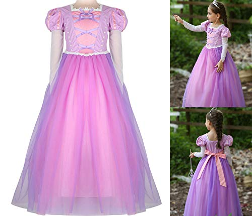 PIESWEETY Children Clothes Dresses Princess Dress Up Halloween Costume for Girls (Purple Rapunzel, L(6)-XL(6X)) ()