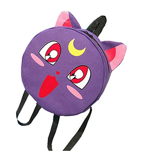 Anime Sailor Moon Luna Cat Cosplay Canvas Backpack Shoulder Bag School Bag (Purple)