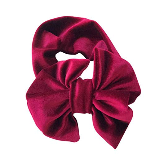 Cute Newborn Kids Headband Pleuche Elastic Baby Hair Band Girls Flower Bowknot Band Headwear Accessories Wine Red]()