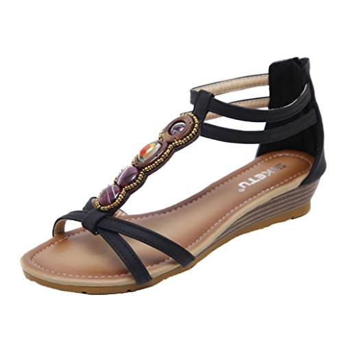 Lolittas Leather Wedge Sandals for Womens, Summer Gladiator Glitter Beaded Bling Low Heel Platform Peep Toe Slingback Lace up Strappy Outdoor Shoes Size 2-9 Black