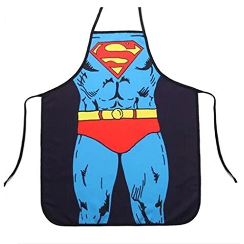 si ying Adjustable Bib Apron with Pocket Comic Characters Adjustable Bib Apron with Pocket, Character Apron (Superman)