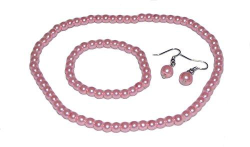 Fashion Jewelry ~Kid's Girl Jewelry~ Pink Artificial Faux Pearls Necklace Bracelet Earrings Set (75750PK)