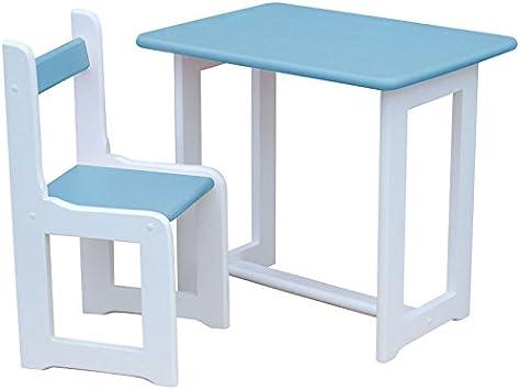Koma Salon de Jardin pour Enfant en pin Massif (Blanc/Bleu ...