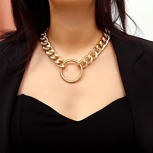 Wcysin Gold Sexy Circle Pendant Necklace Choker Necklace for Women Girls