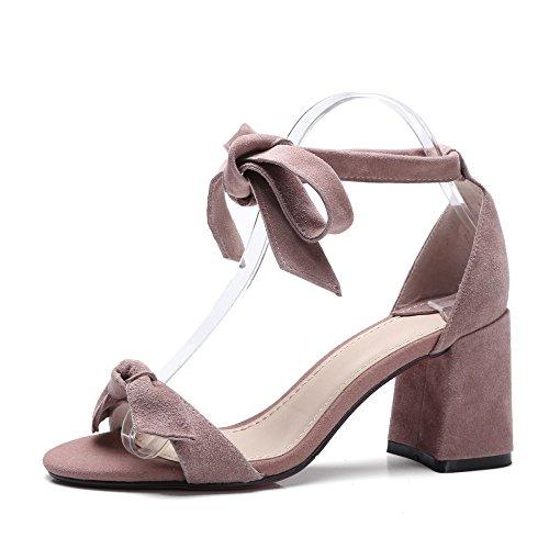 2018 la Alto Pajarita Bomba de Femeninas Zapatos de Venda Nuevas Punta Verano Sandalias Abierta 5cm Pink 8 Tacón rAZzvrqa