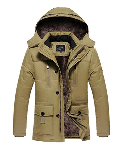 Vcansion Men's Ourdoor winter Thickening Windbreaker Removable Hood Jacket Coat Khaki L