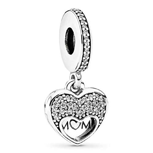 DH Love fit Pandora Bracelet Mom Charm Mama Bear Dangle Charm for Mother's Day (i Love My mom)]()