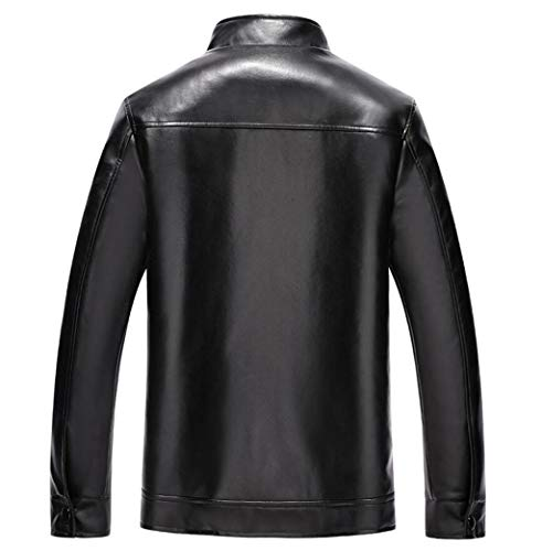 Collar Thick And Stylish Jacket Warm Autumn Coat Men's Leather Velvet Business Clothing Standing Leather Black Winter Plus q70nptw