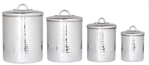 4 Pc. Stainless Steel Hammered Canister Set w/Fresh Seal Covers 4/2/1.5/1Qt Perfect Countertop Storage Solution