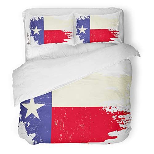 Semtomn Decor Duvet Cover Set Twin Size Star Scratched Texas Flag of Houston Torn Celebration Vintage 3 Piece Brushed Microfiber Fabric Print Bedding Set Cover]()