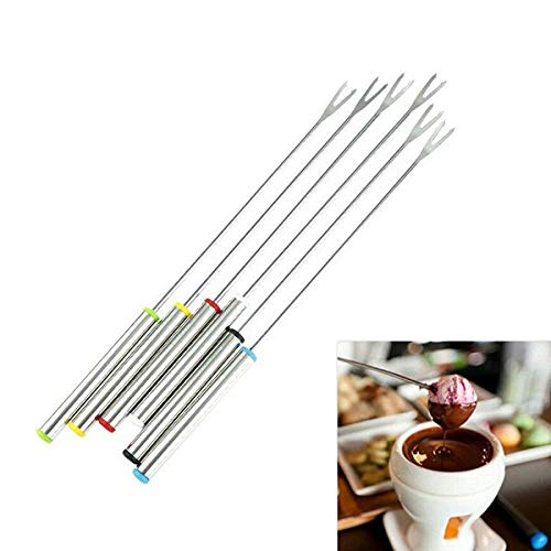 Cauldron Halloween - 6pcs Set Stainless Steel Chocolate K Ks Cheese Fruit Dessert Fondue Melting Skewer - Thermometer Tool Electric Spatula Cauldron Shower Sell Knife Suntour Skirt Coppe]()
