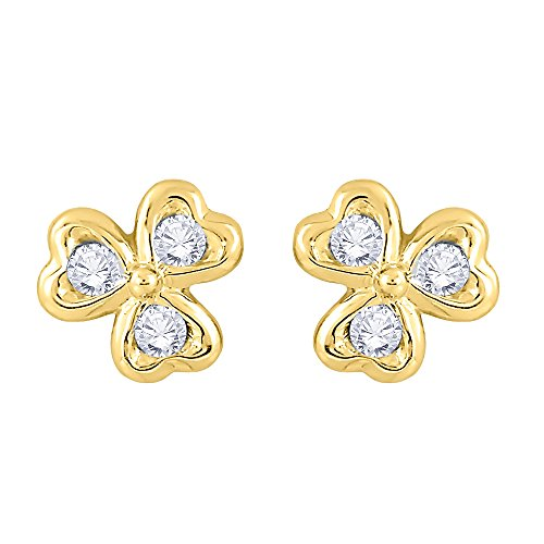 Earrings Gold Circle Diamond Heart (Diamond Heart Earrings in 14K Yellow Gold (1/10 cttw) (JK-Color, SI2/I1-Clarity))